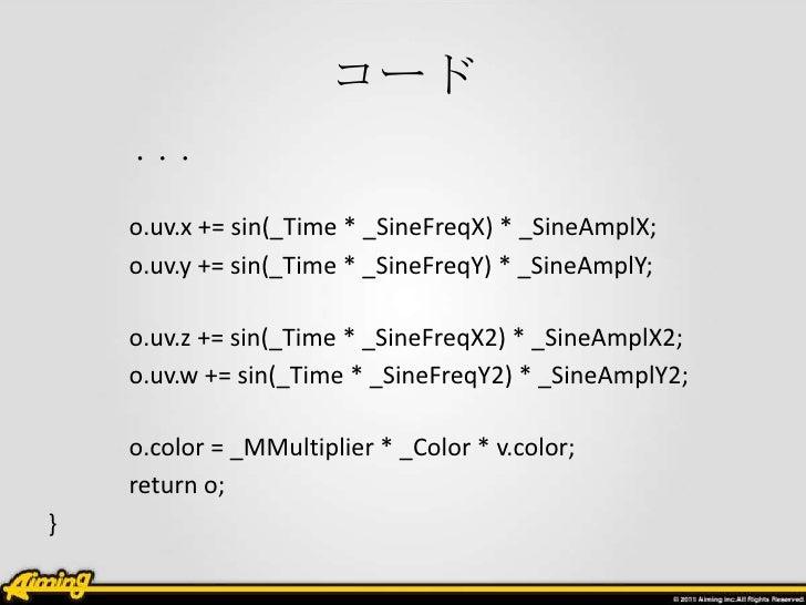 コード    ・・・    o.uv.x += sin(_Time * _SineFreqX) * _SineAmplX;    o.uv.y += sin(_Time * _SineFreqY) * _SineAmplY;    o.uv.z...
