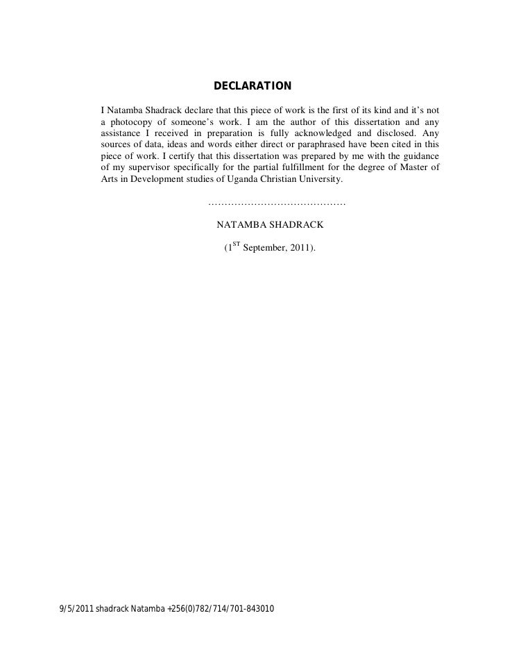 thesis author declaration A thesis or dissertation is a document submitted in support of candidature for an academic degree or professional qualification presenting the author's research and.