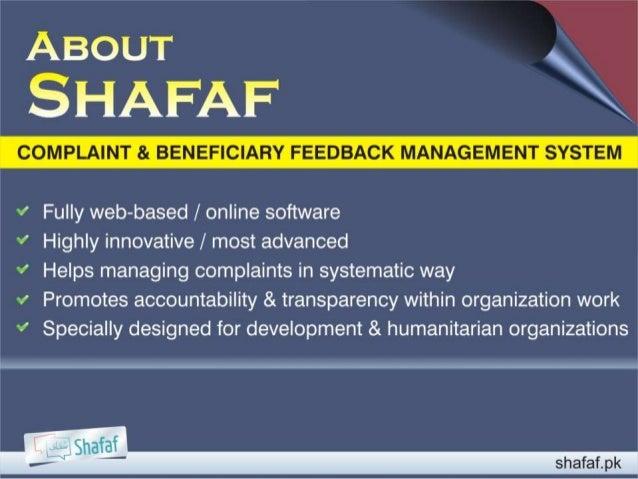 Complaint & Feedback Mechanism (Shafaf) Slide 2