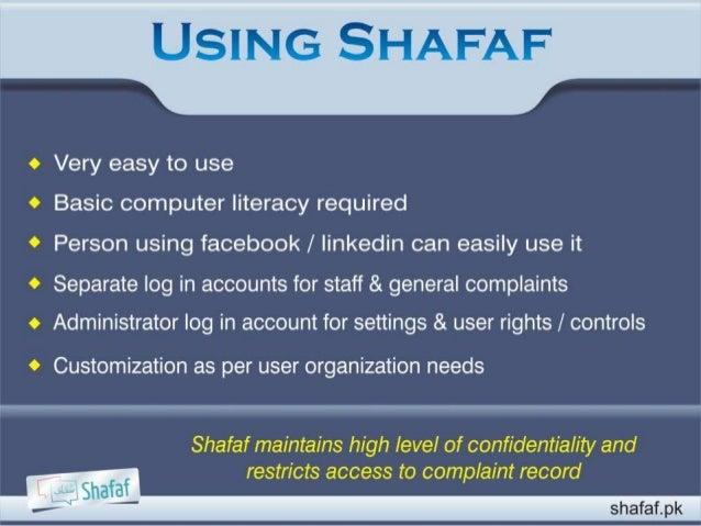 Complaint & Feedback Mechanism (Shafaf) Slide 3