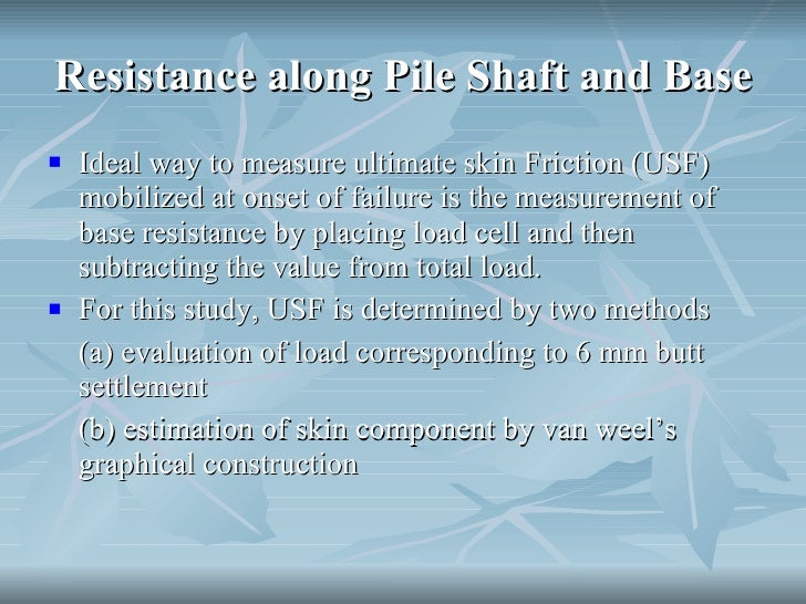 Shaft And Resistance Of Bored Piles