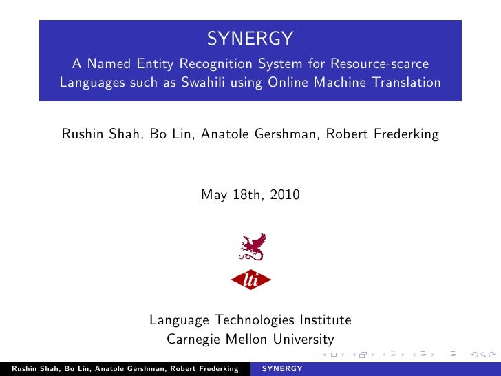 SYNERGY              A Named Entity Recognition System for Resource-scarce            Languages such as Swahili using Onli...