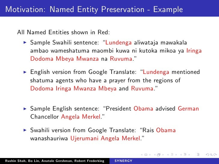 English To Italian Translator Google: A Named Entity Recognition System For Resource