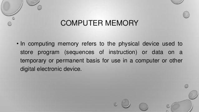 TYPES OF COMPUTER MEMORIES