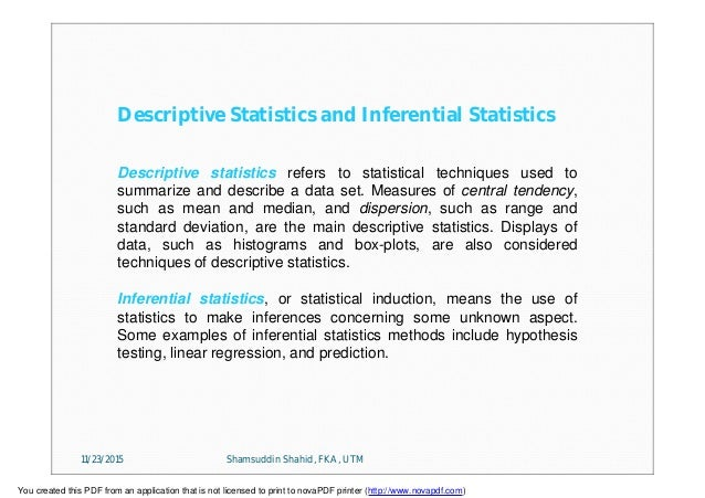 applications of inferential statistics in managerial decision making pdf