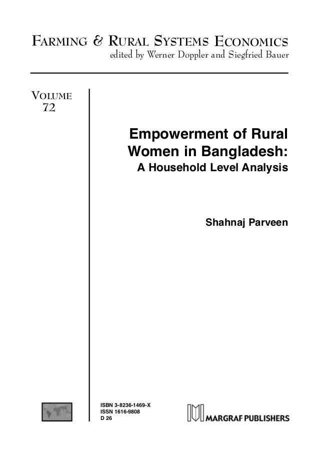 FARMING & RURAL SYSTEMS ECONOMICS edited by Werner Doppler and Siegfried Bauer VOLUME 72 Empowerment of Rural Women in Ban...