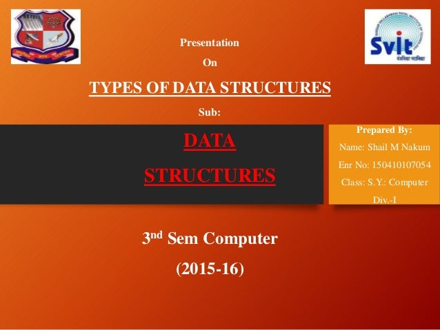 Presentation On TYPES OF DATA STRUCTURES Sub: DATA STRUCTURES 3nd Sem Computer (2015-16) Prepared By: Name: Shail M Nakum ...