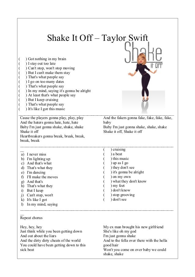 SONG WORKSHEET: Shake it off by Taylor Swift