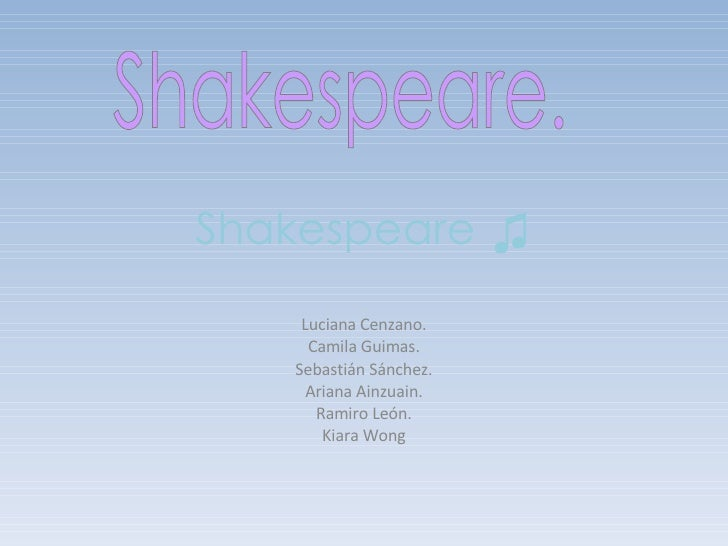 Shakespeare ♫ Luciana Cenzano. Camila Guimas. Sebastián Sánchez. Ariana Ainzuain. Ramiro León. Kiara Wong Shakespeare.