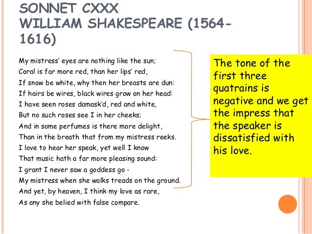 sonnet 130 william shakespeare an unconventional love essay Shakespeare's sonnet 130 with critical notes despite her unattractiveness, the poet's mistress is unsurpassed by any woman.