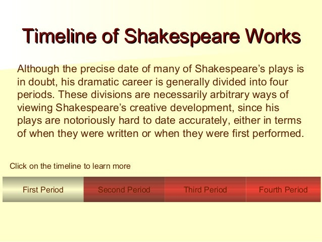 the four divisions of william shakespeares plays Histories history plays shakespeare's 10 plays dealing with events in english history in the order in which they were written, the history plays are: (a) the so-called minor tetralogy—consisting of henry vi parts 1, 2, and 3 and richard iii.
