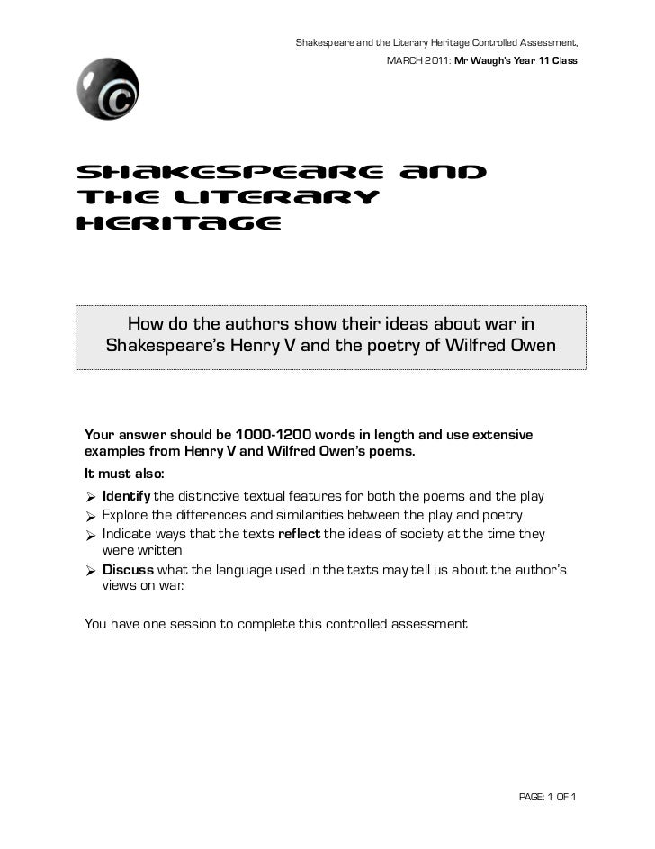 Shakespeare and the Literary Heritage Controlled Assessment,                                                    MARCH 2011...