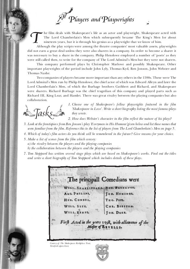 film studies adapting shakespeare Friends, teachers, shakespeare lovers lend me your eyes the following eight-page study guide film packet is used to accompany the joseph mankiewicz-directed 1953 film julius caesar, which is a faithful adaptation of william shakespeare's play of the same name.