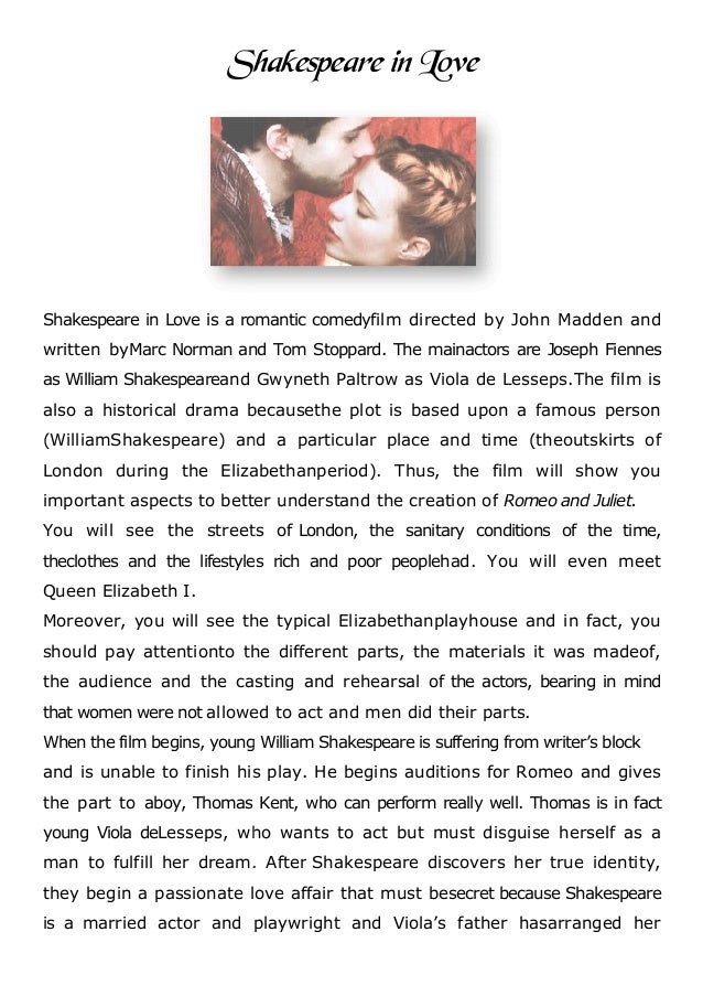shakespeare in love resume