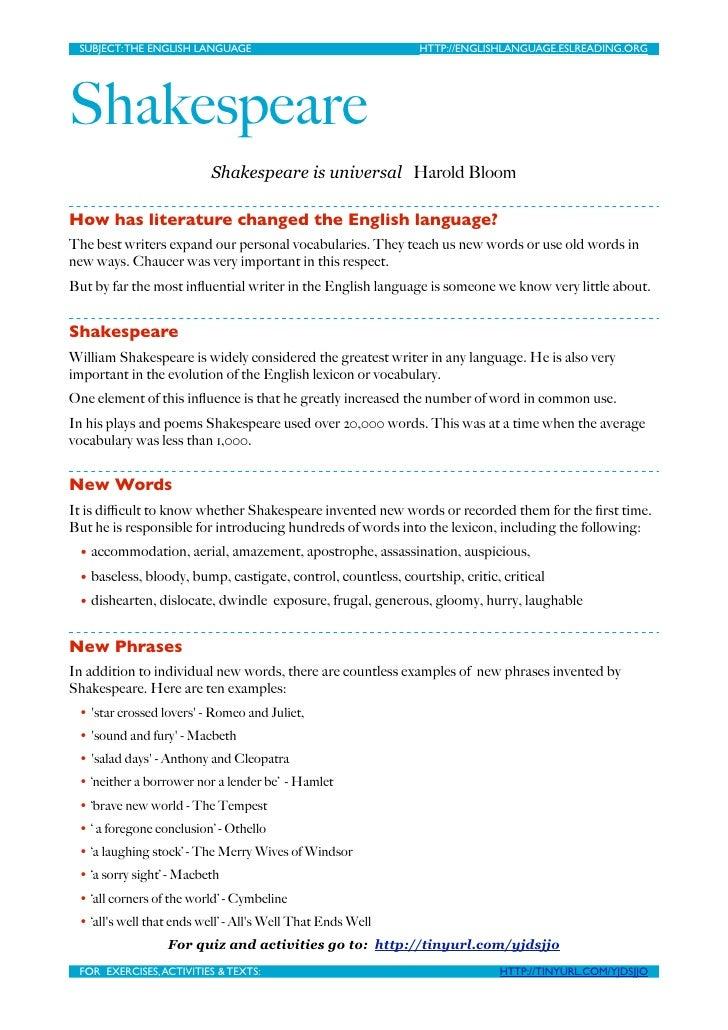 SUBJECT: THE ENGLISH LANGUAGE                                HTTP://ENGLISHLANGUAGE.ESLREADING.ORG     Shakespeare        ...