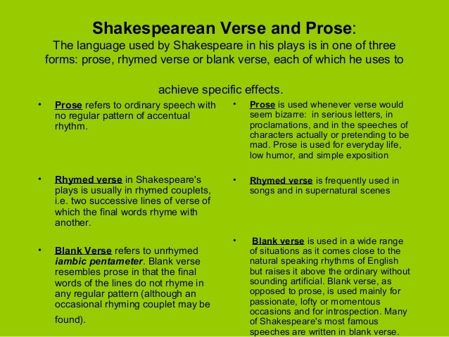 what is blank verse and prose