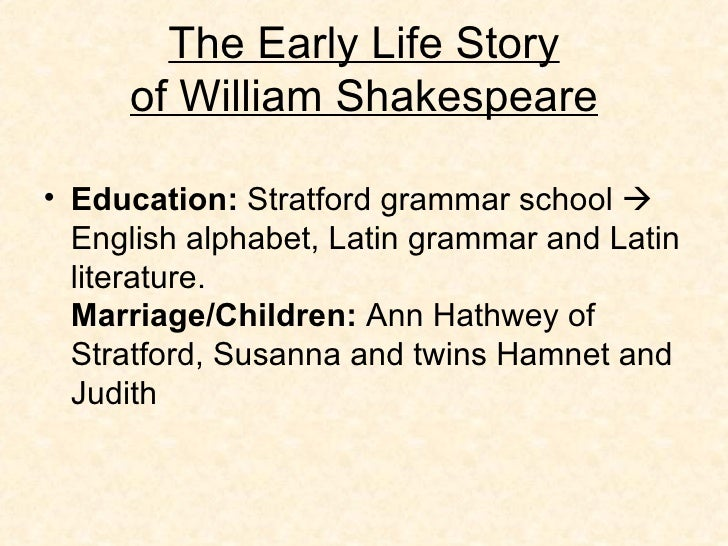the early education of william shakespeare Part of shakespeare day from barn arts collective  head teacher for the  music and movement based early education group lapalestra kids in nyc, and .