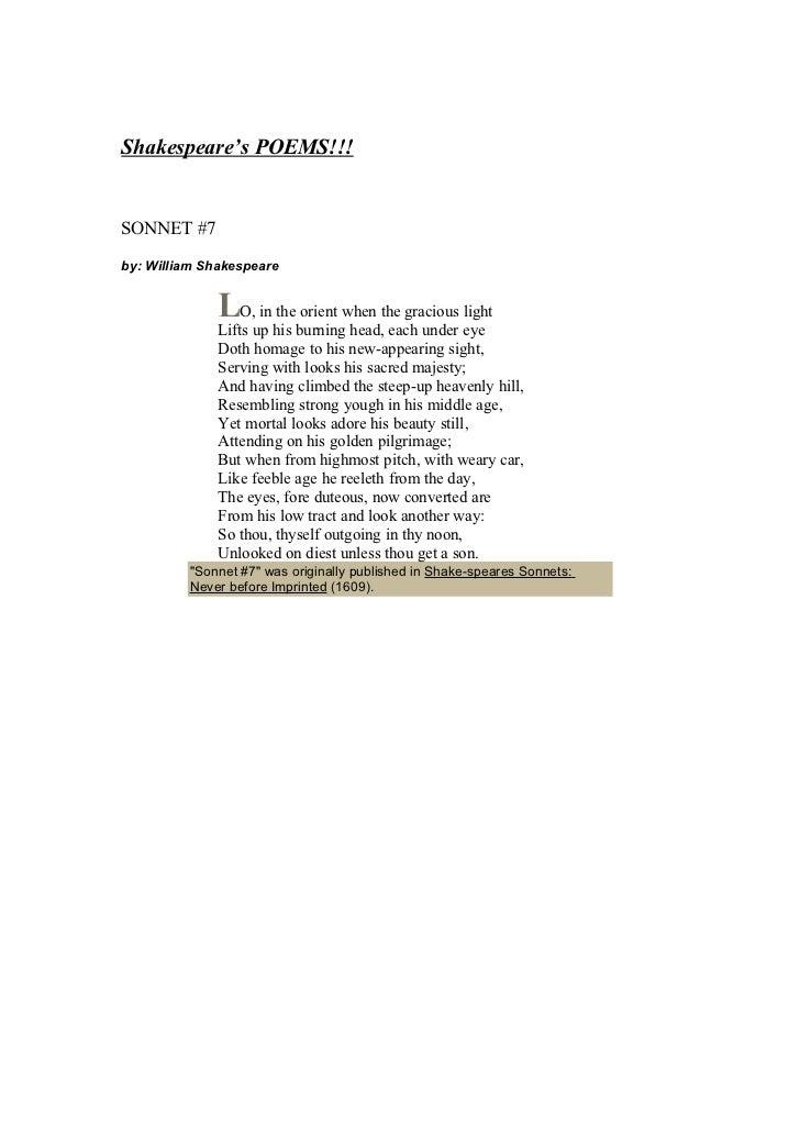 Shakespeare's poem sonnets Slide 2