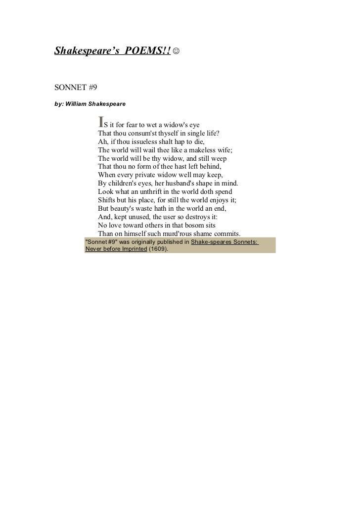 Shakespeare's poem sonnets Slide 3