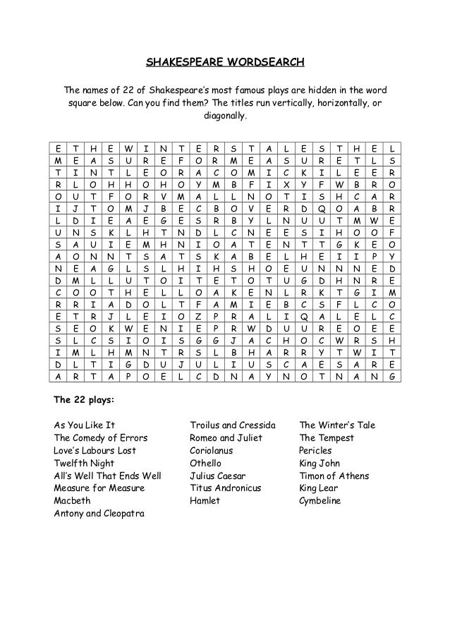 Shakespeare Wordsearch The Names Of  Of Shakespeares Most Famous Plays Are Hidden In The Word