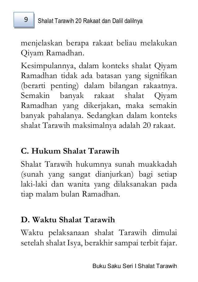 Shalat Tarawih 20 Rakaat Dan Dalil Final
