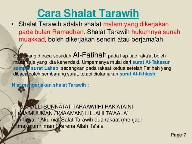 Free Powerpoint Templates Page   Cara Shalat Tarawih E  A