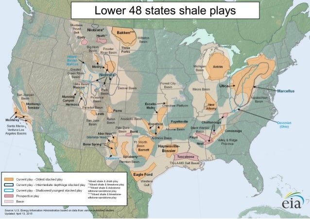 Eia S Lower 48 States Shale Plays Map