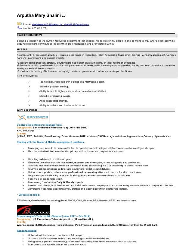 resume of kpo employee
