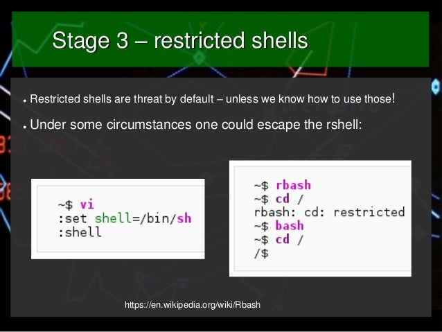 Stage 3 – restricted shells ●  Restricted shells are threat by default – unless we know how to use those!  ●  Under some c...