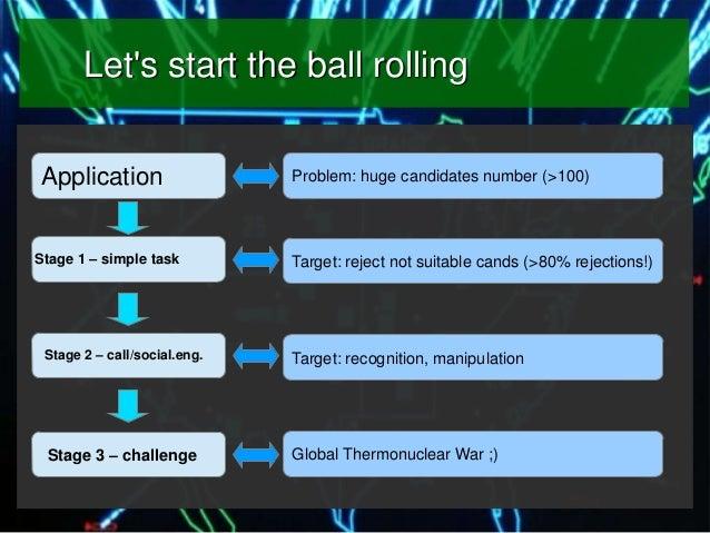 Let's start the ball rolling Application Stage 1 – simple task  Problem: huge candidates number (>100)  Target: reject not...