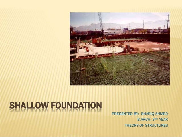 SHALLOW FOUNDATION PRESENTED BY:- SHARIQ AHMED B.ARCH. 3RD YEAR THEORY OF STRUCTURES