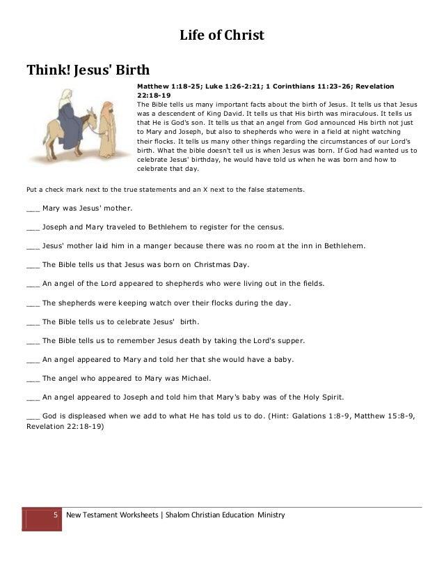 Bible Worksheets -
