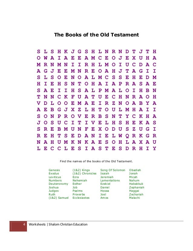 Shalom christian education the books of the old testament worksheets