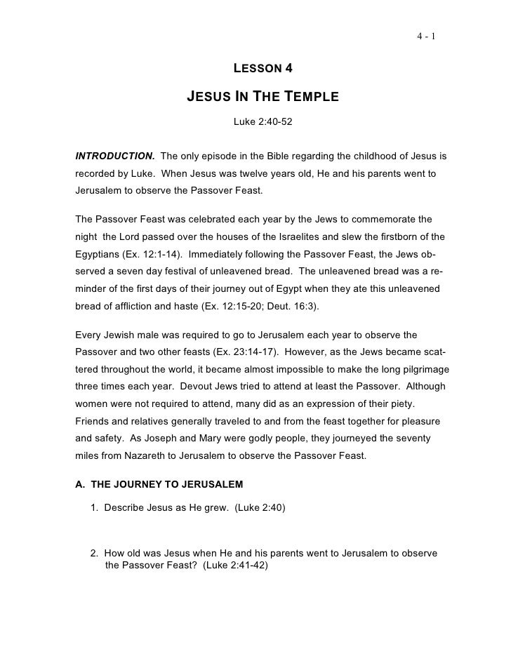 4-1                                    LESSON 4                          JESUS IN THE TEMPLE                              ...