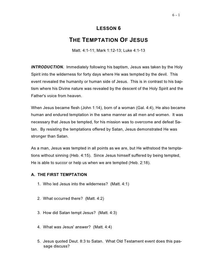 6-1                                    LESSON 6                       THE TEMPTATION OF JESUS                       Matt. ...