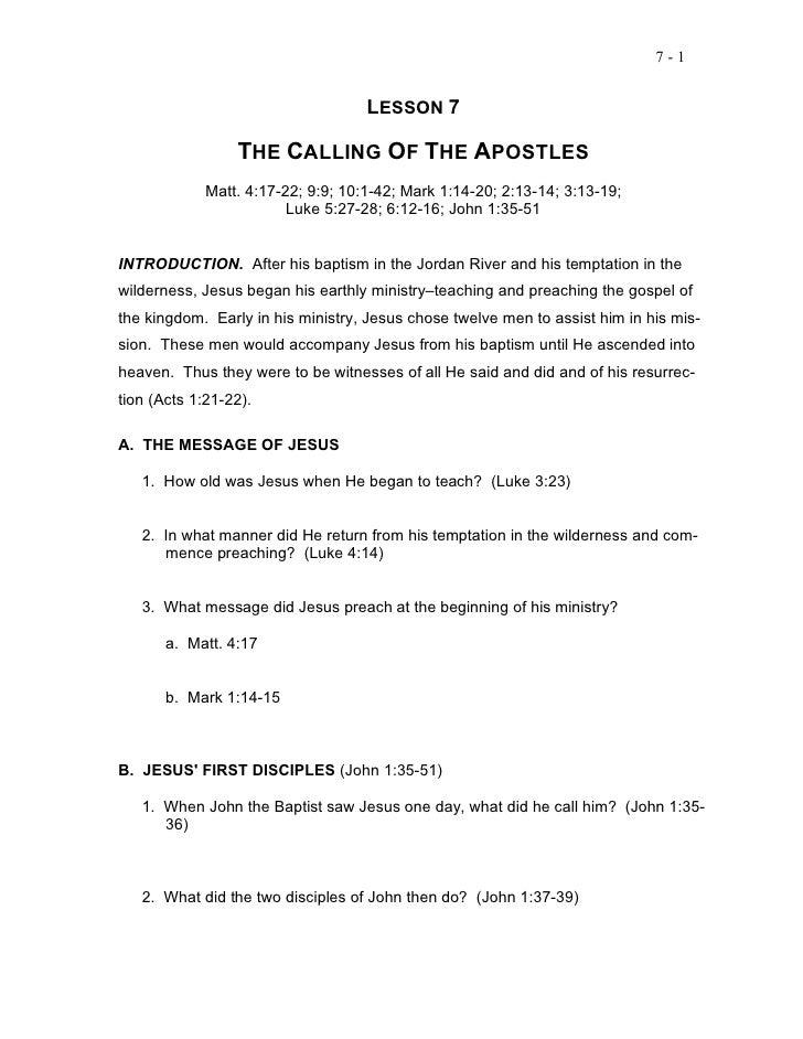 7-1                                    LESSON 7                 THE CALLING OF THE APOSTLES             Matt. 4:17-22; 9:9...