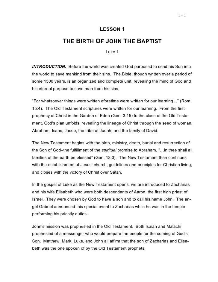 1-1                                     LESSON 1                 THE BIRTH OF JOHN THE BAPTIST                            ...
