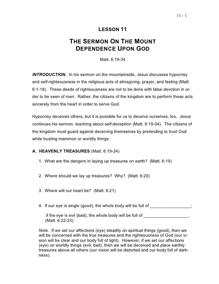 11 - 1                                    LESSON 11                    THE SERMON ON THE MOUNT                      DEPEND...