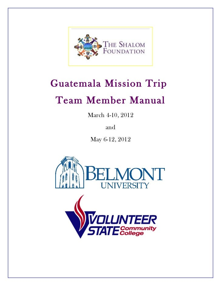 Team Manual - Belmont and Vol State March 2012
