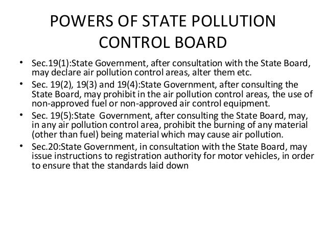 Pollution control board -Power and Functions