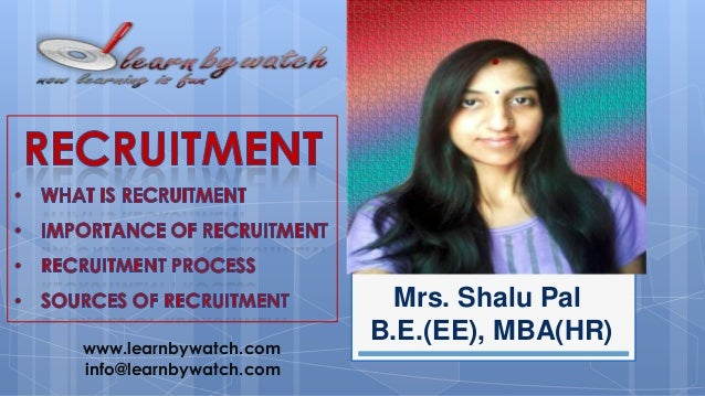 www.learnbywatch.com info@learnbywatch.com  Mrs. Shalu Pal B.E.(EE), MBA(HR)