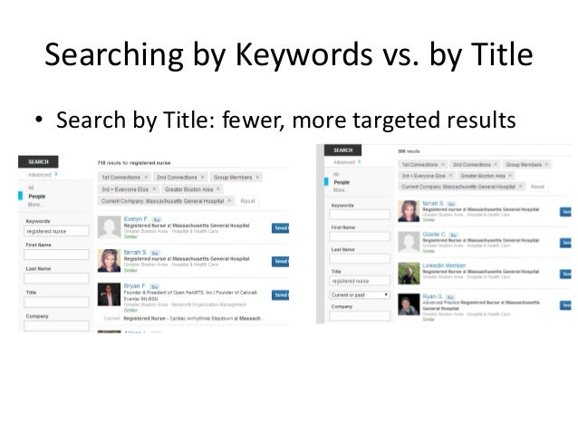 Searching by Keywords vs. by Title • Search by Title: fewer, more targeted results