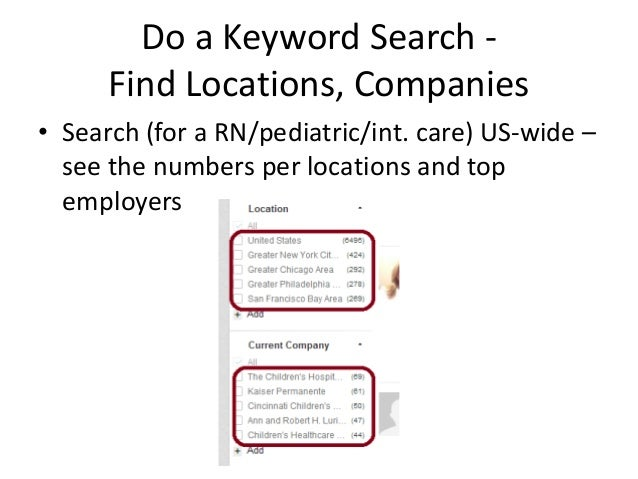 Do a Keyword Search Find Locations, Companies • Search (for a RN/pediatric/int. care) US-wide – see the numbers per locati...