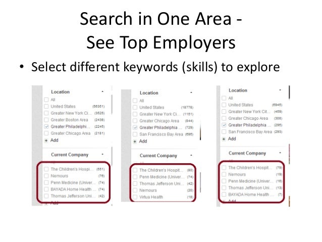 Search in One Area See Top Employers • Select different keywords (skills) to explore