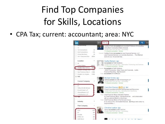 Find Top Companies for Skills, Locations • CPA Tax; current: accountant; area: NYC
