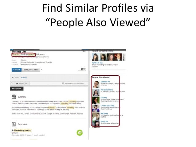 """Find Similar Profiles via """"People Also Viewed"""""""