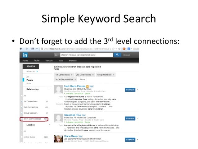 Simple Keyword Search • Don't forget to add the 3rd level connections: