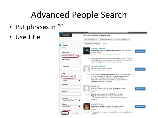 """Advanced People Search • Put phrases in """""""" • Use Title"""