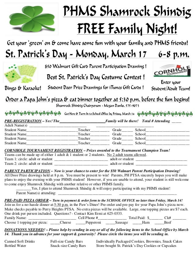 PHMS Shamrock Shindig Get your 'green' on withFREE Family Night! your family and all your PHMS friends! Get your 'green' o...
