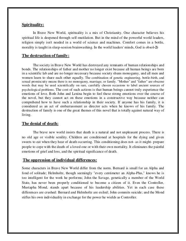 brave new world thematic essay